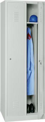 Kledingkast, 2 deuren, cilinderslot, B 500 x H 1800 mm, lichtgrijs, lichtgrijs