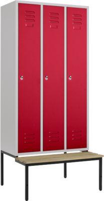 Kledingkast, 3-delig, 300 mm, draaislot, met bankje, deur robijnrood, 3-delig, met deur met ruby red