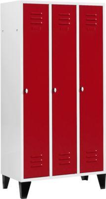 Kledingkast met 3 compartimenten, 300 mm, draaivergrendeling, met voetjes, deur robijnrood, met deur met ruby red.