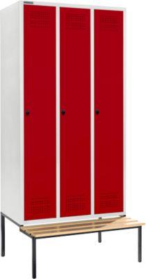 Kledingkast met bank, 3 compartimenten, 300 mm vakbreedte, veiligheidsslot, lichtgrijs/rood, grijs/rood