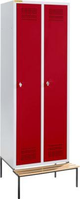 Kledingkast met bankje, 2 compartimenten, 300 mm vakbreedte, veiligheidsslot, lichtgrijs/rood, lichtgrijs/rood