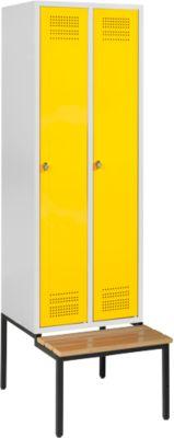 Kledingkast met bankje, 2 vakken, veiligheidsslot, lichtgrijs/geel, lichtgrijs/geel