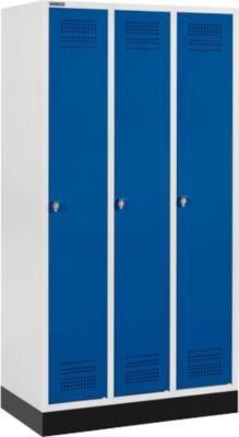 Kledingkast met onderstel, 3 compartimenten, veiligheidsslot, lichtgrijs/enzichtblauw