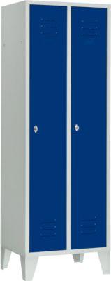 Kledinglocker, 2 deuren, met poten, b 600 x h 1850 mm, lichgrijs/blauw (VH)