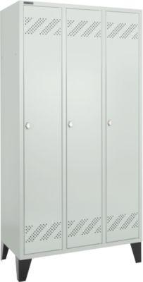 Kledinglocker  KL3F-300-Basic2- met draaivergrendeling, RAL 7035/7035 lichtgrijs/lichtgrijs