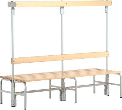 Kleedkamerbank, type C, dubbel, stalen buis/hout, B 2000 mm, lichtgrijs
