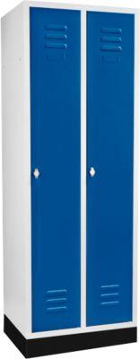 kleerkast met 2 vakken, 300 mm, draaislot, met onderstel, deur gentiaanblauw, 300 mm.