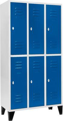 kleerkast, met 3 x 2 vakken, 300 mm, met poten, draaivergrendeling, deur gentiaanblauw, met 3 x 2 compartimenten