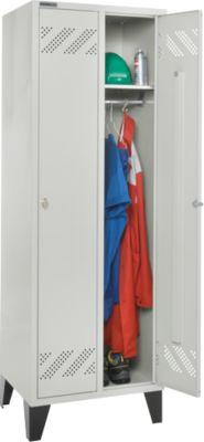 Kleiderspind, 2 Abteile, mit Fuß, Drehriegelverschluss, lichtgrau/lichtgrau