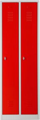 Kleiderspind, 2 Türen, B 600 x H 1800 mm, Drehriegelverschluss, lichtgrau/feuerrot