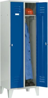 Kleiderspind, 2 Türen, B 600 x H 1800 mm, inkl. Füßen, Drehriegelverschluss, lichtgrau/enzianblau