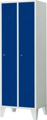 Kleiderspind, 2 Türen, B 600 x H 1850 mm, Zylinderschloss, lichtgrau/enzianblau