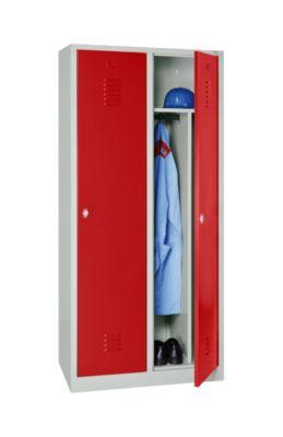 Kleiderspind, 2 Türen, B 800 x H 1800 mm, Drehriegelverschluss, lichtgrau/feuerrot