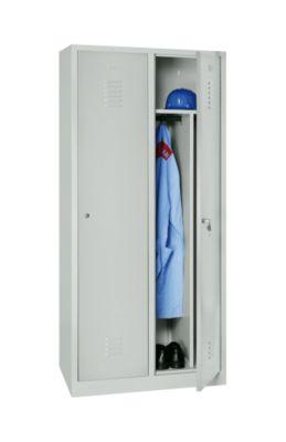 Kleiderspind, 2 Türen, B 800 x H 1800 mm, Zylinderschloss, lichtgrau