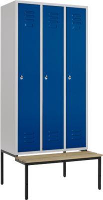 Kleiderspind, 3 Abt., 300 mm, Drehriegelverschluss, m. Sitzbank, Tür enzianblau