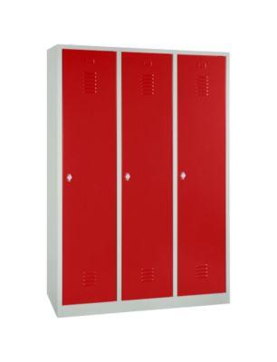 Kleiderspind, 3 Türen, B 1200 x H 1800 mm, Drehriegelverschluss, lichtgrau/rot