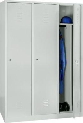 Kleiderspind, 3 Türen, B 1200 x H 1800 mm, Zylinderschloss, lichtgrau