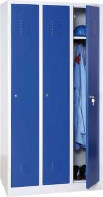 Kleiderspind, 3 Türen, B 900 x H 1800 mm, Zylinderschloss, lichtgrau/blau