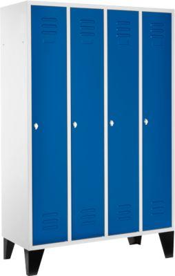 Kleiderspind, 4 Abt. 300 mm, Drehriegelverschluss, m. Füßen, Tür enzianblau
