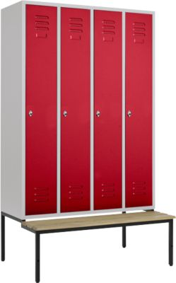 Kleiderspind, 4 Abt., 300 mm, m. Sitzbank, Tür rubinrot