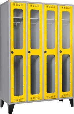 Kleiderspind, 4 Abteile, mit Füßen, hellsilber/gelb