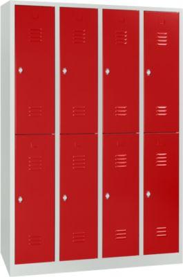 Kleiderspind, 4 Abteile übereinander, B 1170 x H 1950 mm, Drehriegelverschluss, lichtgrau/feuerrot