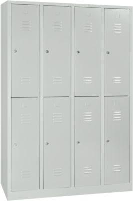 Kleiderspind, 4 Abteile übereinander, B 1170 x H 1950 mm, Zylinderschloss, lichtgrau/lichtgrau