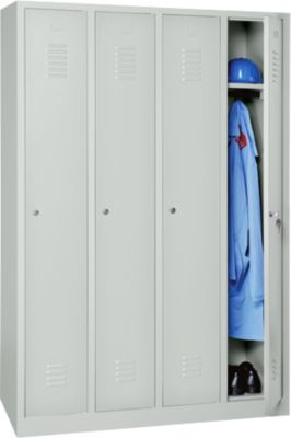 Kleiderspind, 4 Türen, B 1170 x H 1800 mm, Drehriegelverschluss, lichtgrau