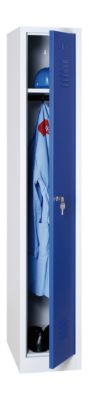 Kleiderspind, B 300 x H 1800 mm, lichtgrau/enzianblau RAL 7035/5010, Zylinderschloss