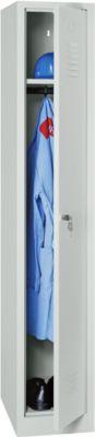 Kleiderspind, B 300 x H 1800 mm, lichtgrau RAL 7035, Zylinderschloss