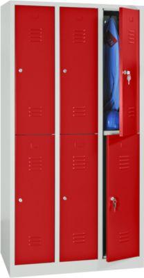 Kleiderspind, doppelstöckig, 2 x 3 Abteile, Drehriegelverschluss, lichtgrau RAL 7035/feuerrot RAL 3000
