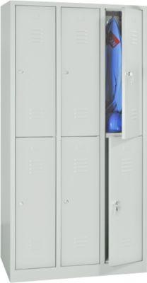Kleiderspind, doppelstöckig, 2 x 3 Abteile, Zylinderschloss, lichtgrau RAL 7035/lichtgrau RAL 7035