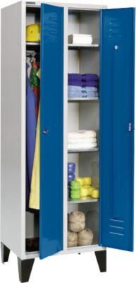 Kleiderspind, mit 2 Abteilen, mit Füßen, Drehriegelverschluss, lichtgrau/enzianblau