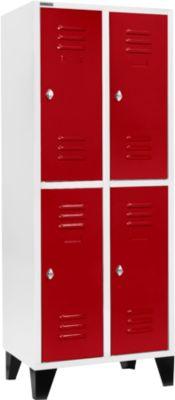 Kleiderspind mit 2 x 2 Abteilen, 400 mm, mit Füßen, Drehriegelverschluss, Tür rubinrot
