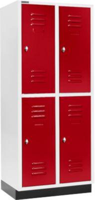 Kleiderspind, mit 2 x 2 Abteilen, 400 mm, mit Sockel, Drehriegelverschluss, Tür rubinrot