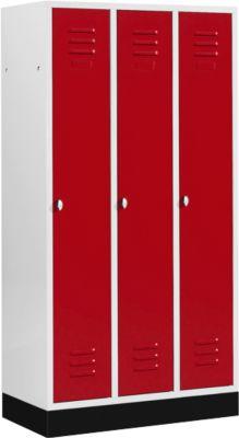Kleiderspind mit 3 Abteilen, 300 mm, Drehriegelverschluss, mit Sockel, Tür rubinrot