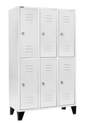 Kleiderspind, mit 3 x 2 Abteilen, 400 mm, mit Füßen, Zylinderschloss, Tür lichtgrau