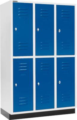 Kleiderspind, mit 3 x 2 Abteilen, 400 mm, mit Sockel, Drehriegelverschluss, Tür enzianblau