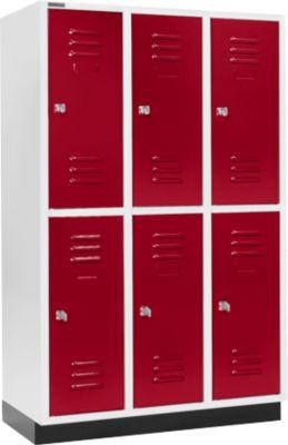 Kleiderspind, mit 3 x 2 Abteilen, 400 mm, mit Sockel, Zylinderschloss, Tür rubinrot
