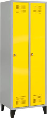 Kleiderspind mit Füßen, 2 Abteile, Sicherheitsdrehriegelverschluss, hellsilber/gelb