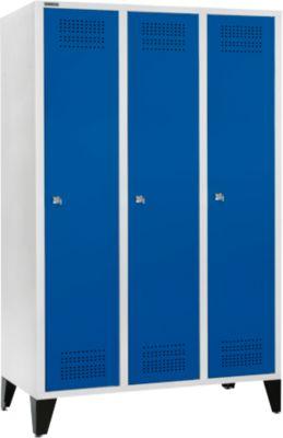 Kleiderspind mit Füßen, 3 Abteile, 400 mm Abteilbreite, Zylinderschloss, lichtgrau/enzianblau