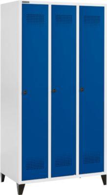 Kleiderspind mit Füßen, 3 Abteile, Drehverschluss, lichtgrau/enzianblau
