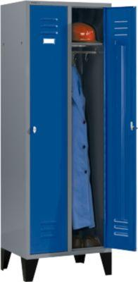 Kleiderspind mit Füßen, Drehriegelverschluss, hellsilber/blau