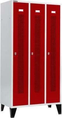 Kleiderspind, mit gelochten Streifen, 3 Abteile, 300 mm, mit Füßen, Drehriegelverschluss, Tür rubinrot