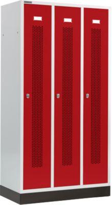 Kleiderspind, mit gelochten Streifen, 3 Abteile, 300 mm, mit Sockel, Drehriegelverschluss, Tür rubinrot