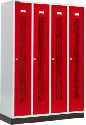Kleiderspind mit gelochten Streifen, 4 Abteile, mit Sockel, Zylinderschloss, Tür rubinrot