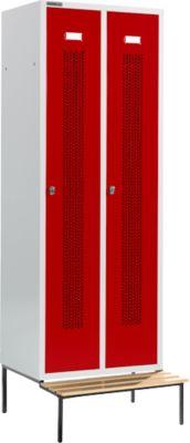 Kleiderspind, mit Sitzbank, 2 Abteile, 300 mm, Drehriegelverschluss, Tür rubinrot