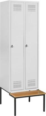 Kleiderspind mit Sitzbank, 2 Abteile, Drehverschluss, lichtgrau/lichtgrau