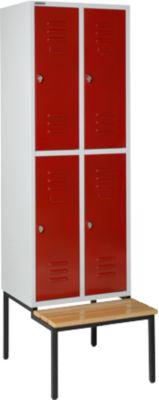 Kleiderspind, mit Sitzbank, 2x2 Abteile, 300mm, Drehriegelverschluss, lichtgrau/rubinrot