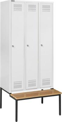Kleiderspind mit Sitzbank, 3 Abteile, Zylinderschloss, lichtgrau/lichtgrau